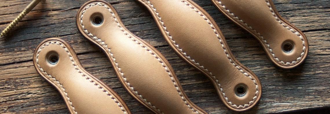 poignées en cuir pour portes de meuble ou tiroirs